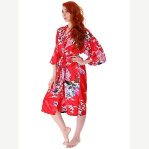 🔥3 FOR $30🔥 Satin Peacock Floral Print Kimono